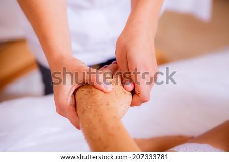 body care, body scrub, body care, body scrub, hand massage, Beauty and Health - stock photo