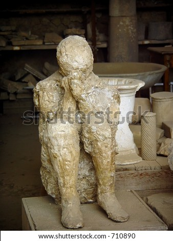 body cast of woman hiding her face in fear