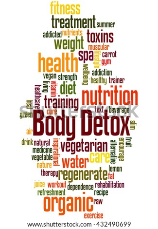 Body Detox, word cloud concept on white background.