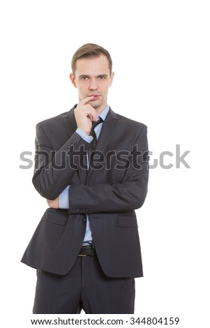 body language. man dressed business suit isolated on white background. finger in his mouth. a gesture of uncertainty, need for approval and support, flirting