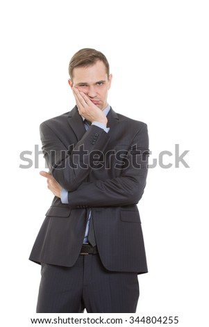body language. man in business suit isolated on white background. Propping palm cheeks and chin. a gesture of boredom - stock photo