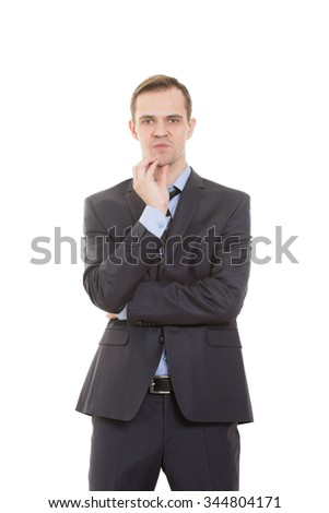 body language. man in business suit isolated on white background. stroking the chin, - stock photo
