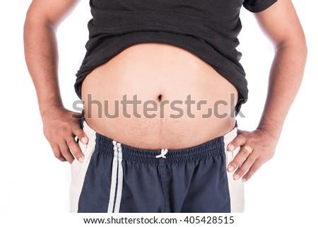 body man fat belly - stock photo