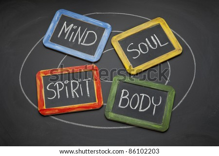 body, mind, soul, spirit - personal growth or development concept presented with white chalk and small slate blackboards - stock photo