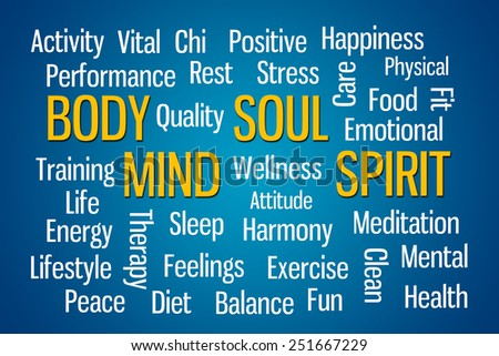 Body Mind Soul Spirit word cloud on blue background - stock photo