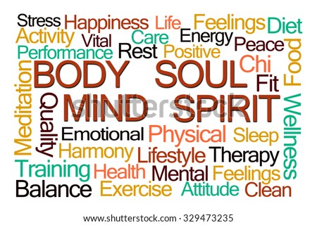 Body Mind Soul Spirit Word Cloud on White Background - stock photo