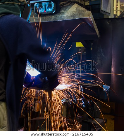 Body movement during welding work on skills (production).