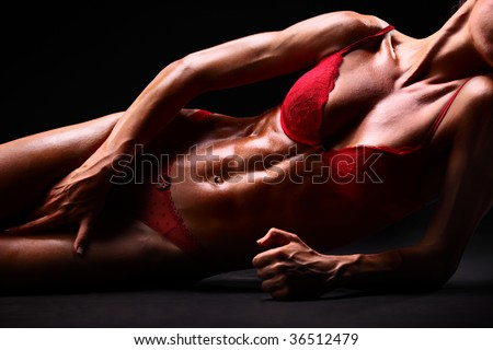 Body of a sexy young woman in red underwear - stock photo
