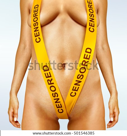 body of fatty woman with yellow censorship tapes
