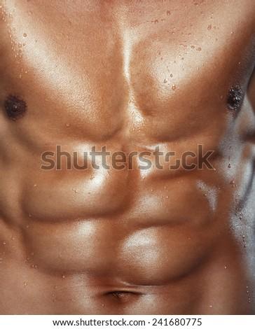 Body of muscular man. Vertical studio shot - stock photo