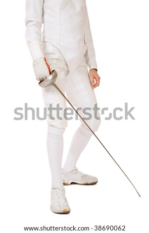 Body of slim girl in fencing costume with sword in hand over white background - stock photo