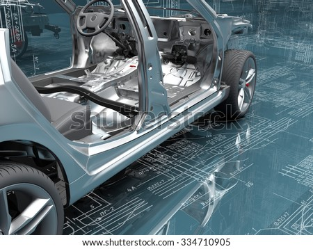 Body of the passenger cars on the background of the drawings. - stock photo