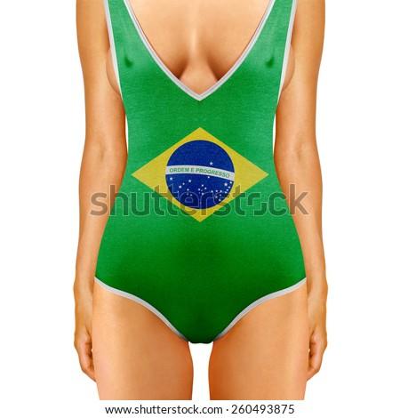 body of woman in swimwear like Brazilian flag on white background - stock photo