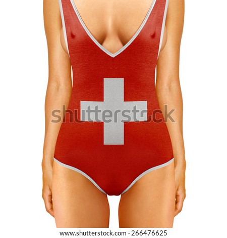 body of woman in swimwear like Swiss flag on white background - stock photo