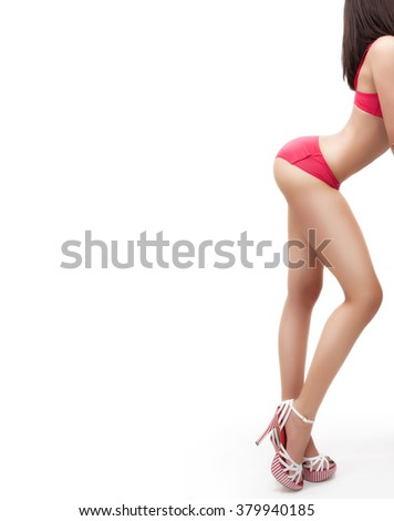 Body of woman with sexy ass and legs isolated on white - stock photo