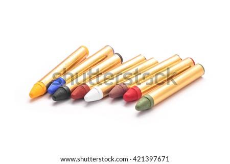 body paint crayons set isolated - stock photo