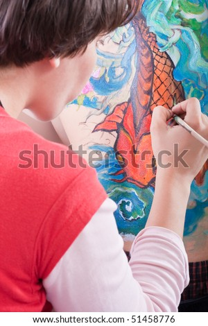 body-painting a Koi fish (2) - stock photo