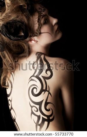 Body painting project: art, fashion, beauty - stock photo