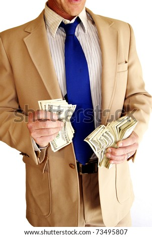 Body part man in suit with hundred dollar bills - stock photo