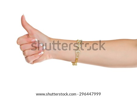 body part thumbs up sign isolated on white background - stock photo