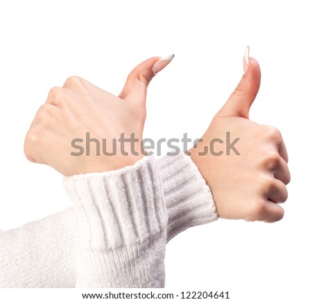 Body part, two tumbs up over white background - stock photo