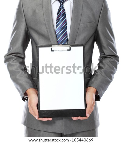 body portrait of business man showing blank clipboard isolated on white background - stock photo