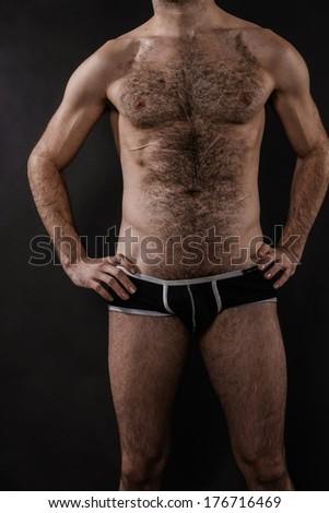 Body Shot Hairy Male - stock photo
