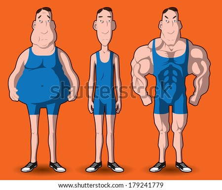 body transformation. the transformation of the body - fat to muscular. - stock photo
