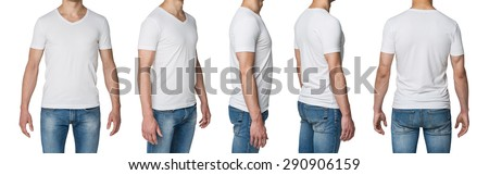 body view of five man in a white t-shirt.  - stock photo