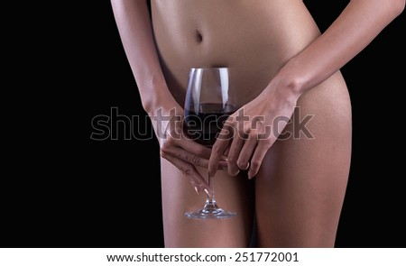 body woman with glass  wine - stock photo