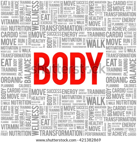 BODY word cloud background, health concept - stock photo