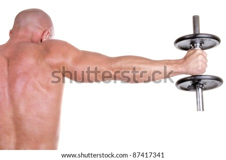 bodybuilder dumbbell - stock photo