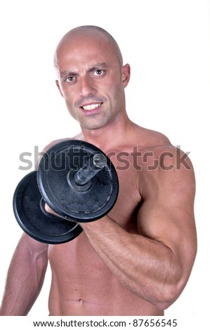 bodybuilder dumbbell on white background - stock photo