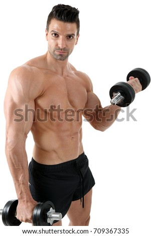 Bodybuilder exercising with dumbbells in front of white background