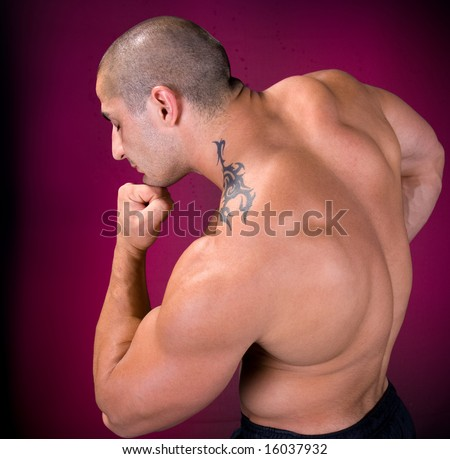 Bodybuilder is thinking about love - stock photo