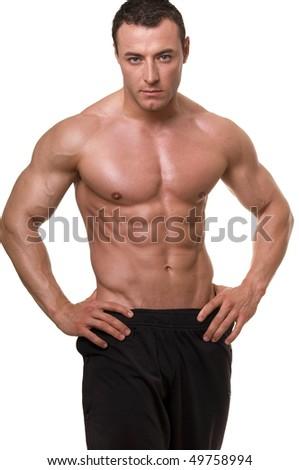 Bodybuilder isolated on white background. - stock photo