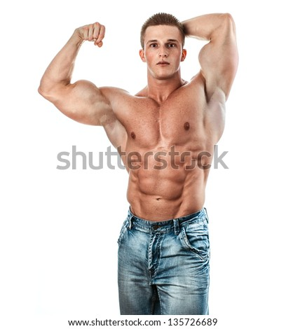 Bodybuilder isolated on white. Muscle man with perfectly biceps - stock photo