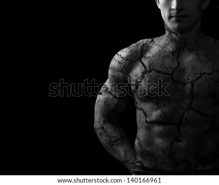 Bodybuilder.Pain concept.Cracked skin - stock photo