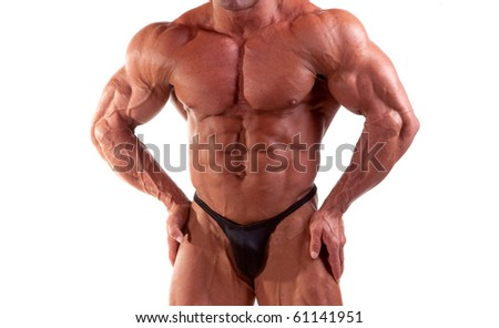 bodybuilder posing - stock photo