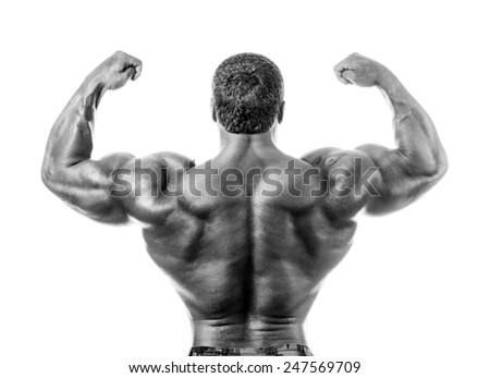 bodybuilder posing. Handsome power athletic guy male. Fitness muscular body.  Isolated on white background - stock photo