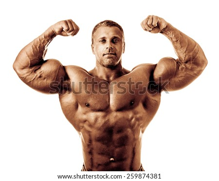 bodybuilder posing. Handsome power athletic guy male. Fitness muscular body.  Isolated on white background