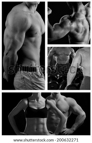 Bodybuilder posing on the black background. Collage - stock photo
