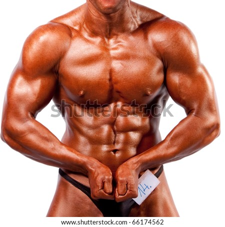 bodybuilder posing over white background - stock photo