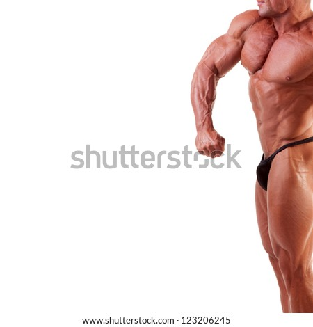 bodybuilder showing his muscles isolated on white - stock photo