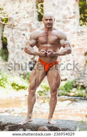 bodybuilder stay and posing