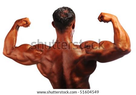 Bodybuilder strong as a rock - stock photo