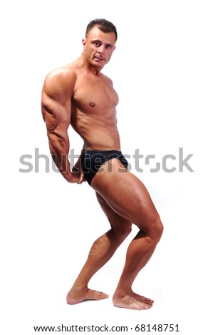 Bodybuilder strong as a rock, full body