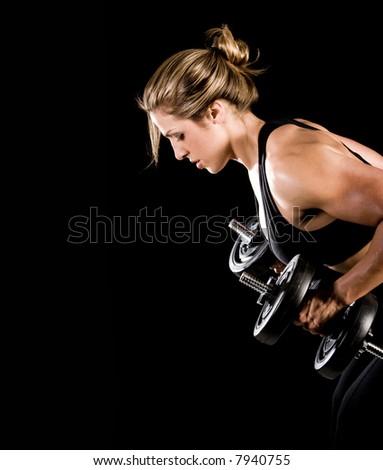 Bodybuilder weight lifting - stock photo