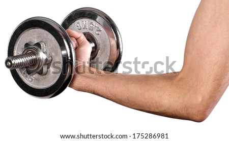 bodybuilder with dumbbell in the hand isolated on white  - stock photo