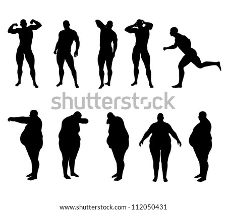 bodybuilders and obese - stock photo